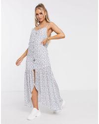 NA-KD Белое Платье Макси С Цветочным Принтом -синий