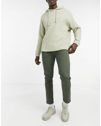 Pull&Bear Skinny Fit Smart Chinos With Belt - Green
