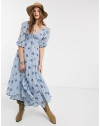 Free People Sea Glass Midi Dress - Blau