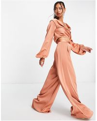 ASOS Co-ord Wide Leg Trouser With Pleat Front - Pink