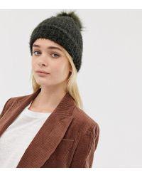 bc4c965c1f2 New Look - Fluffy Faux Fur Pom Pom Bobble Hat In Khaki - Lyst