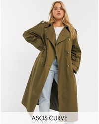ASOS Asos Design Curve Longline Trench Coat - Green