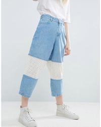 ASOS Broderie Insert Jeans In Lightblue Wash