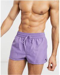 ASOS Короткие Шорты Для Плавания Фиолетового Цвета С Треугольным Логотипом - Пурпурный