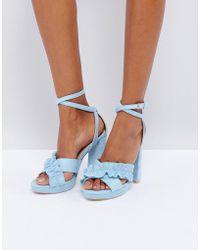 Glamorous - Frill Platform Heeled Sandals - Lyst