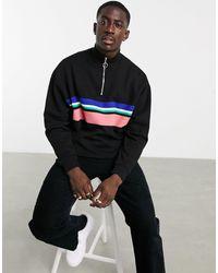 ASOS Oversized Sweatshirt Met Korte Rits En Strepen - Zwart