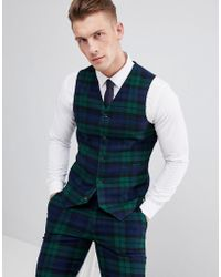 ASOS Wedding Super Skinny Suit Vest In Blackwatch Plaid Check - Green