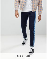 ASOS Tall Slim Jeans In Indigo With Side Stripe Insert - Blue