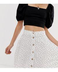 New Look Spot Print Button Through Mini Skirt In White - Black