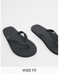 ASOS Wide Fit Flip Flops - Black