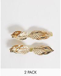 ASOS Set Van 2 Haarclips Met Blaadjes-detail In Goudkleur - Metallic