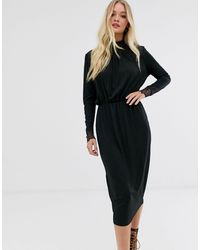 Y.A.S High Neck Plisse Dress With Lace Cuff - Black