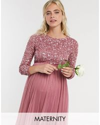 Maya Maternity Delicate Sequin Long Sleeve Maxi Dress With Tulle Skirt - Pink