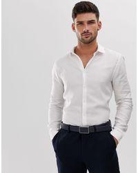 TOPMAN Строгая Фактурная Белая Рубашка Premium-белый