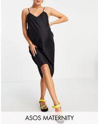 ASOS - Черное Платье-комбинация Миди С V-образным Вырезом - Lyst