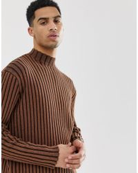 ASOS Knitted Oversized Turtle Neck Sweater In Brown