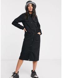 Monki Button Through Utility Shirt Dress - Black