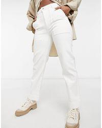 Lacoste High Waist Straight Leg Trousers - White