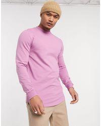 ASOS – Rosa Muskel-Sweatshirt mit abgerundetem Saum - Pink