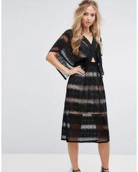 Foxiedox - Sheer Lace Kimono Sleeve Dress - Lyst
