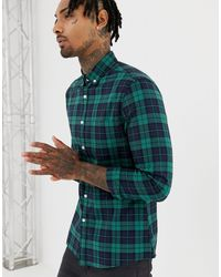 ASOS Stretch Slim Fit Check Shirt - Green