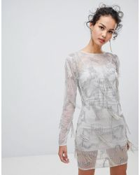 Frock and Frill - Frock & Frill Long Sleeve Embellished Shift Dress - Lyst