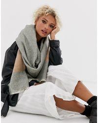 ASOS Lange Oversized Sjaal Met Vissegraatmotief En Pastel-streep - Grijs