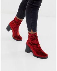 ASOS Responsive - Fluwelen Sock Boots Met Dikke Zool - Rood