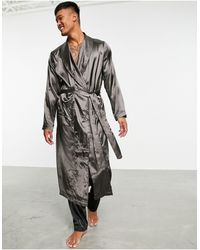 ASOS Co-ord Satin Dressing Gown - Grey