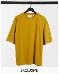 Collusion T-shirt oversize à logo imprimé - Taupe - Jaune