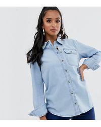 ASOS Petite - Denim Overhemd Met Zak In Midwash Blauw
