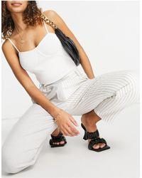 Bershka Check & Stripe Stepped Waist Pants - Multicolour