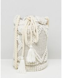South Beach - Drawstring Shoulder Bag In Natural - Lyst