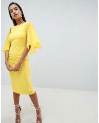 ASOS DESIGN - Woven Mix Cape Back Pencil Dress - Lyst