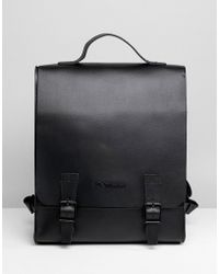 Dr. Martens Box Backpack In Straw Grain Leather - Black