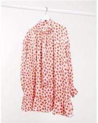 Glamorous Mini Smock Dress With Neck Tie And Peplum Hem - Pink
