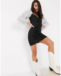 Bershka Ruched Mini Dress With Polka Dot Puff Sleeves - Black