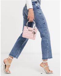 River Island Quilted Small Boxy Bag - Pink
