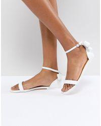 Ted Baker - Qaprie White Leather Bow Sandal - Lyst