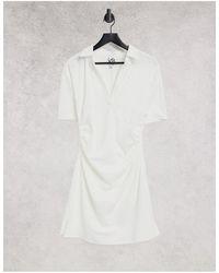 Lola May Gathered Waist V Neck Mini Dress - White