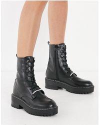 Stradivarius Lace Front Boots - Black