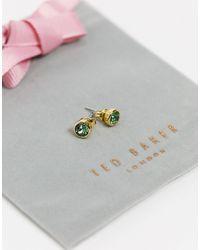 Ted Baker Золотистые Серьги-гвоздики С Зелеными Кристаллами Sinaa-золотистый - Металлик