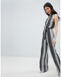 Oh My Love - High Neck Striped Jumpsuit With Cut Out Detail - Lyst