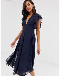ASOS Midi Dress With Lace Godet Panels - Blue