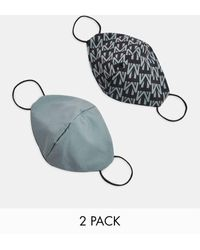 TOPMAN 2 Pack Monogram Print Face Covering - Multicolour