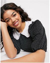 Miss Selfridge Dot Print Poplin Collar Top - Black