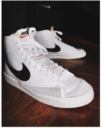Nike Черно-белые Кроссовки Blazer Mid '77-белый