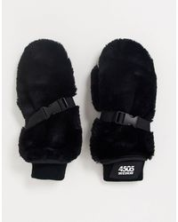 ASOS 4505 Лыжные Варежки Из Искусственного Меха -черный