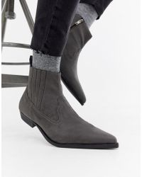 ASOS Cuban Heel Western Chelsea Boots In Grey Faux Suede - Gray
