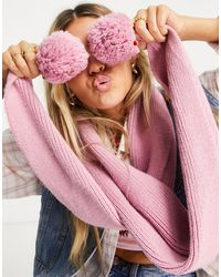 TOPSHOP Knitted Pom Pom Scarf - Pink